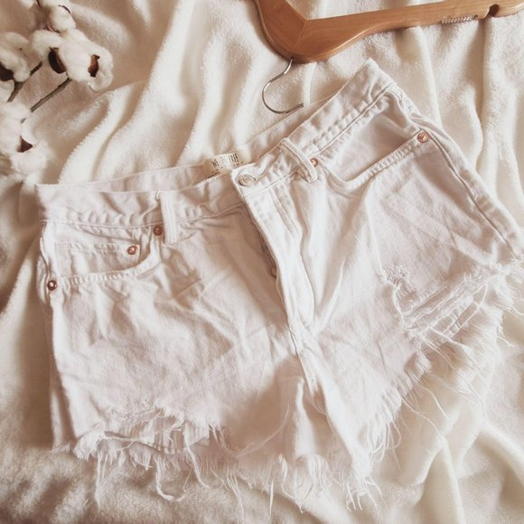 Free People High Rise Cut Off Distress Jean Shorts